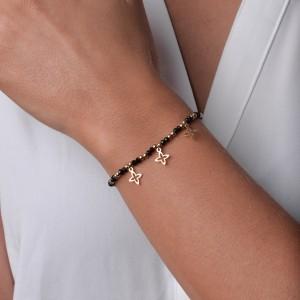 Bransoletka lilie, czarny, złoty S1V71966-1Z