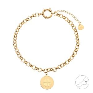 Bransoletka na kostkę koniczyna, złoty S1V71944-Z