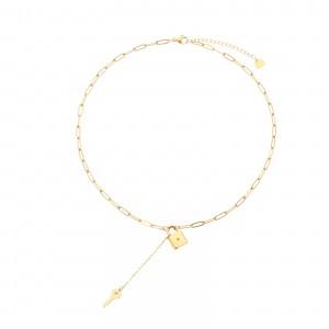Naszyjnik krawatka, kłódka, kolor złoty S3V71985-Z