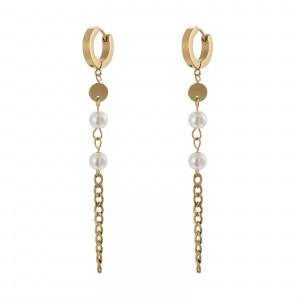 Kolczyki łańcuch, perełki, złoty  S2V71452-2Z
