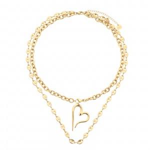 Naszyjnik serce, podwójny, kolor złoty S3V72051-Z