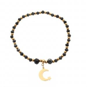 Bransoletka księżyc, kryształki, złoty S1V71905-Z