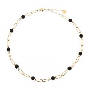 Choker łańcuch, czarny, złoty S3V71948-Z