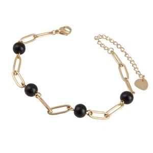 Bransoletka łańcuch, czarny, złoty S1V71787-Z