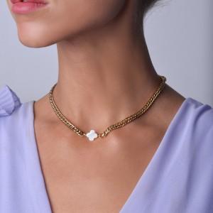Naszyjnik koniczynka, łańcuch, złoty S3V72068-1Z
