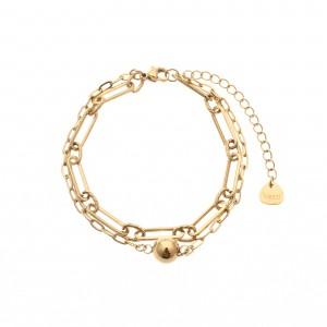 Bransoletka łańcuch, kulka, złoty S1V71752-Z
