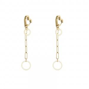 Kolczyki łańcuch, perełki, kółko, złoty S2V71497-Z