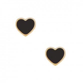 Kolczyki serce, czarny, złoty S2V71338-Z